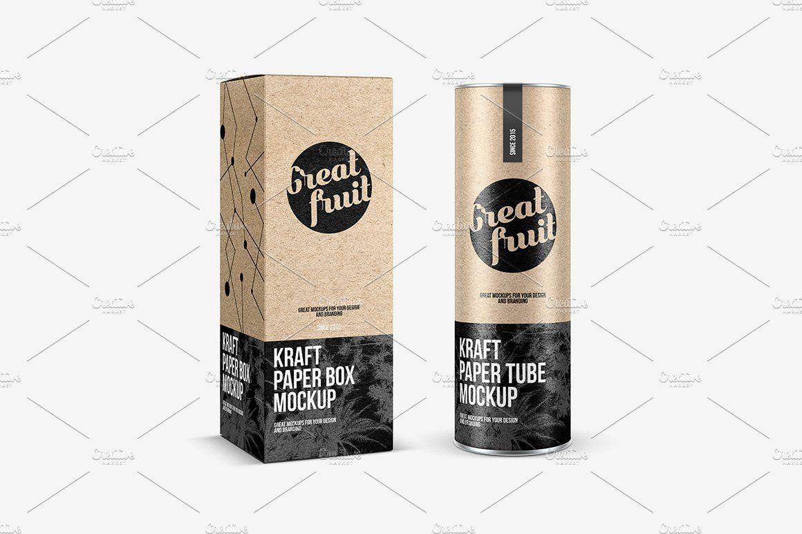 Download Kraft Box With Paper Tube Mockup Kraft Boxes Kraft Paper