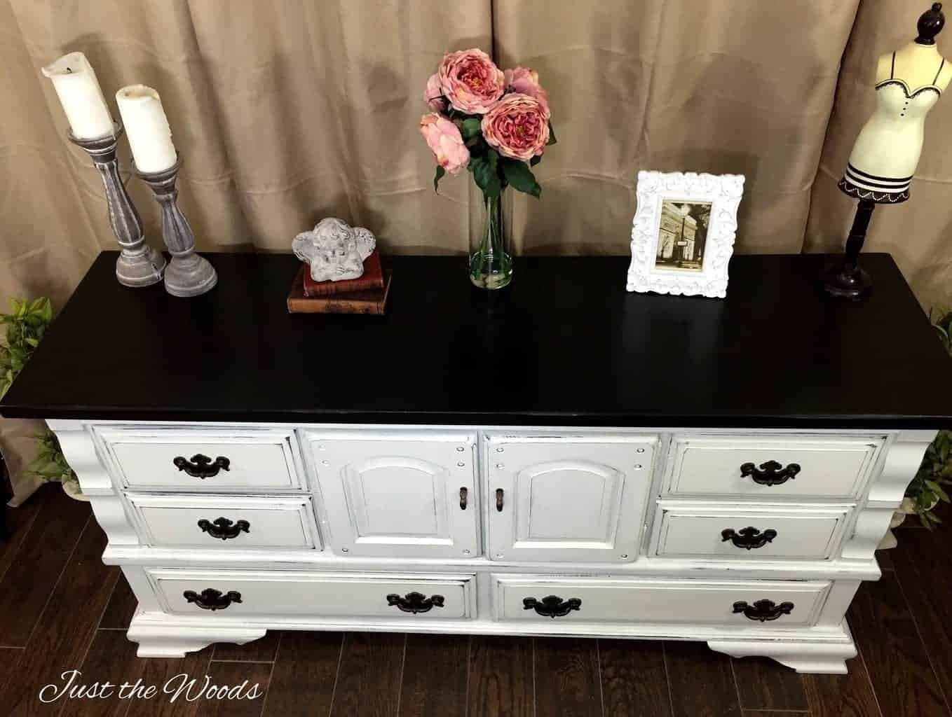 How To Paint A Distressed White Dresser With Surprise Drawers White Distressed Dresser White Painted Dressers Diy Dresser Makeover