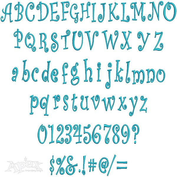 Curlz Embroidery Fonts Set Includes Upper Lower Case Letters And
