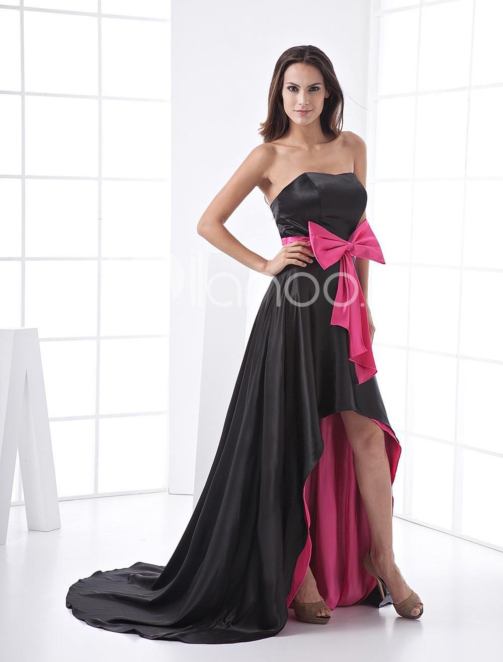 Aline strapless satin empire waist sash long in back short in front