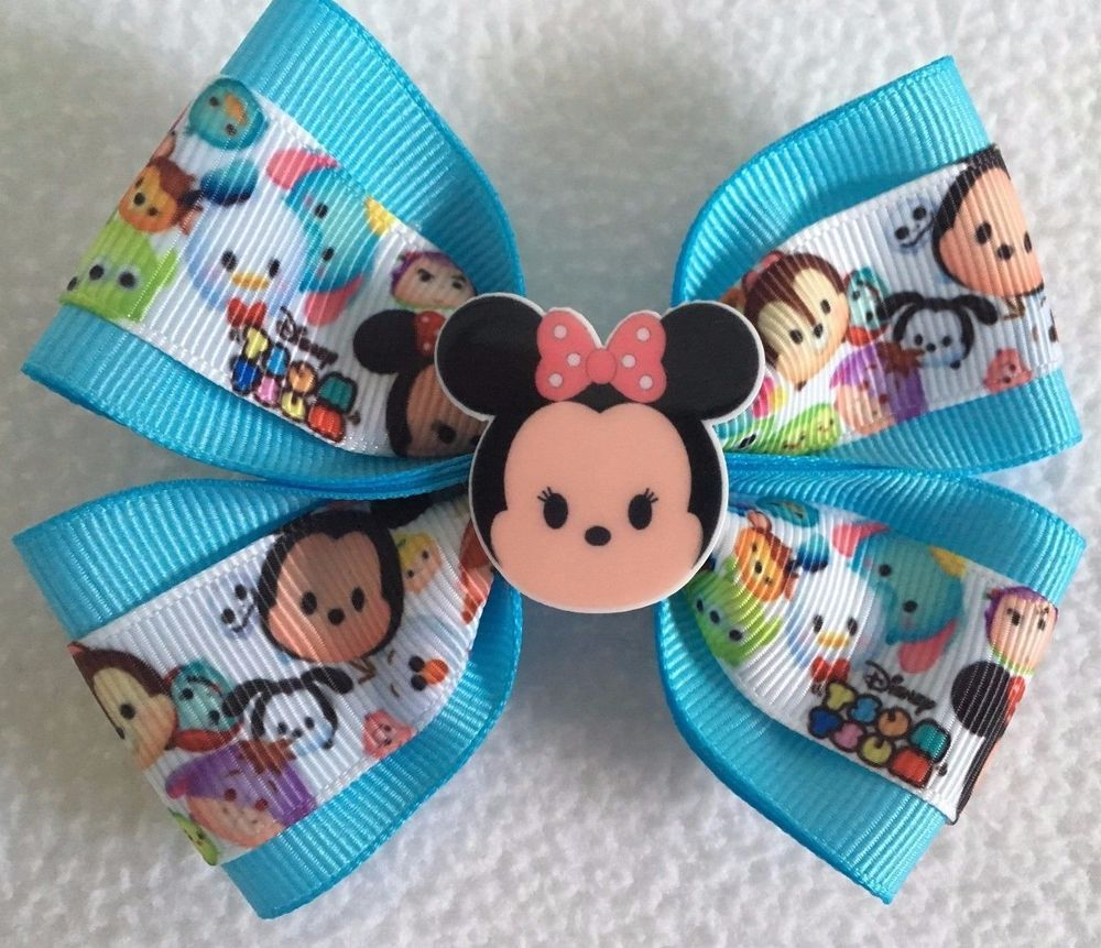 Hair bow button accessories - Girls Hair Bow Wide Tsum Tsum Aqua Blue Minnie Mouse Flatback Alligator Clip Clothing Shoes Accessories Kids Clothing Shoes Accs
