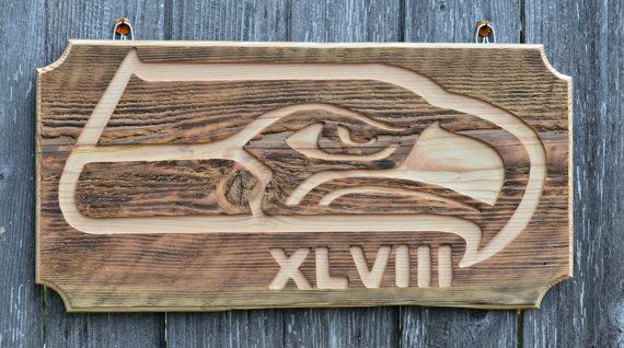 Seattle Seahawks Hand Carved Logo on Reclaimed by PacificElements