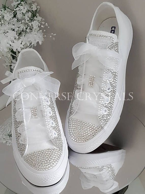 03ae68ac0a3 Wedding   Bridal Mono white Custom Crystal  Bling  Converse Sizes 3-8