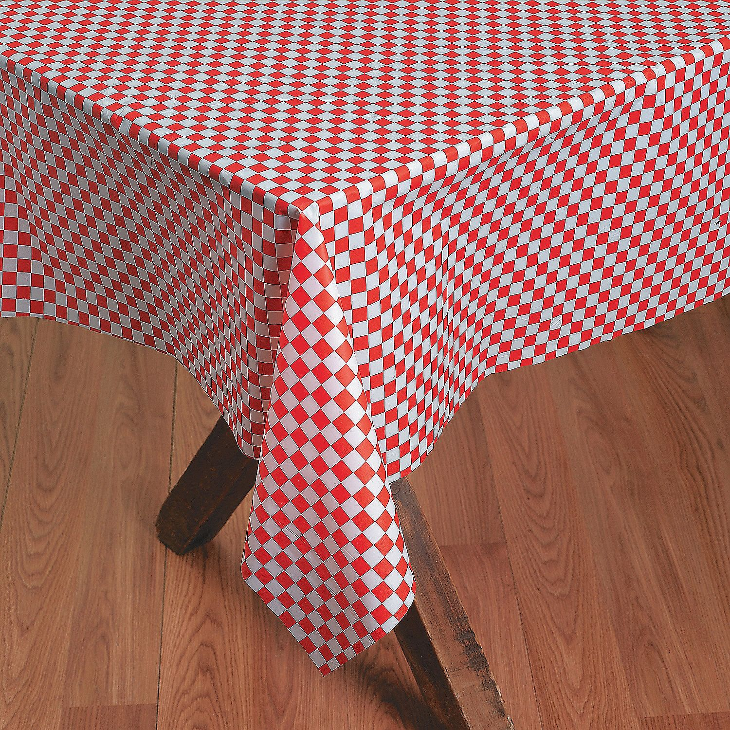 Red White Checkered Banquet Plastic Tablecloth Roll White