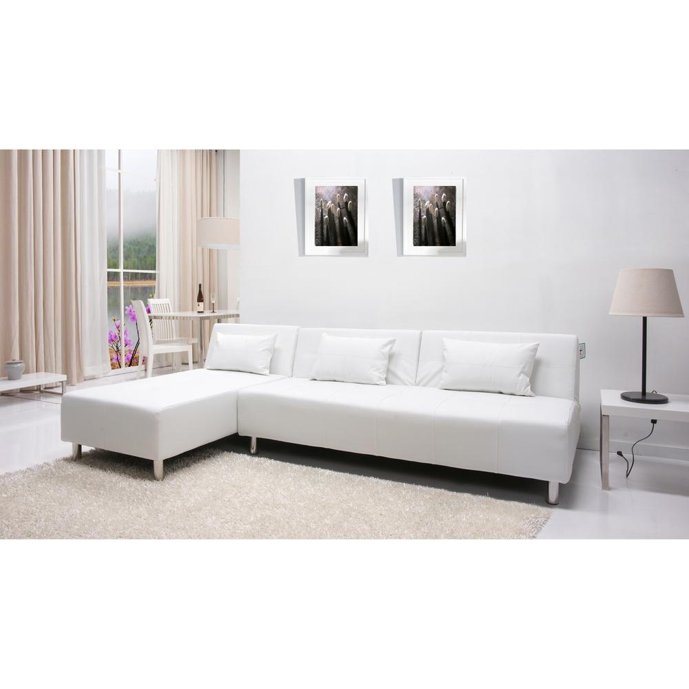 Atlanta White Convertible Sectional Sofa Bed White Wood