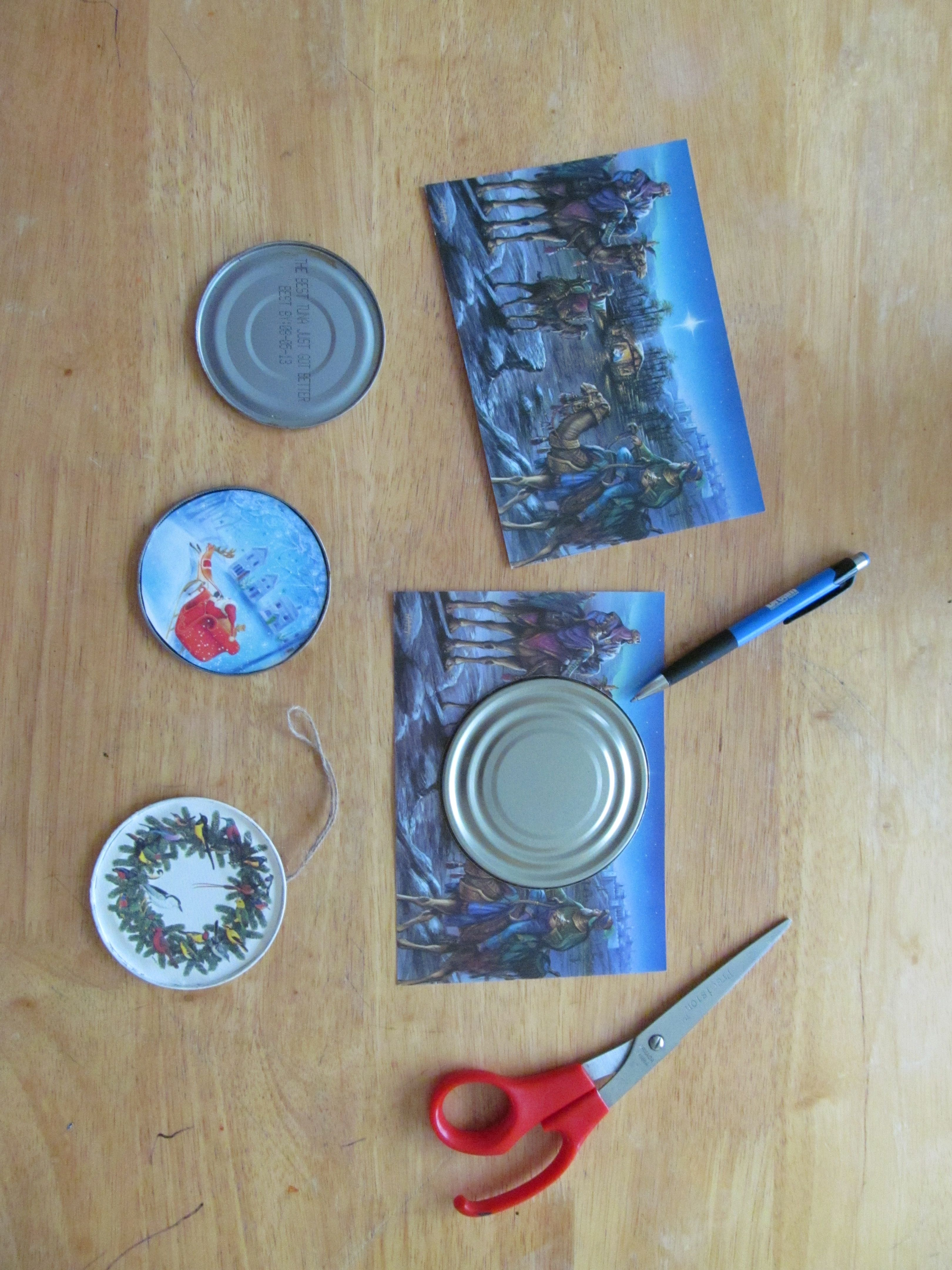 Ornaments I Made Using Old Christmas Cards And Tin Can Lids.