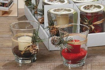 Boltze Weihnachten Windlicht Glas Deko Kerze Sand Geschenkset