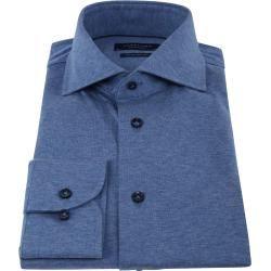 Profuomo Knitted Jersey Hemd Blau Profuomo