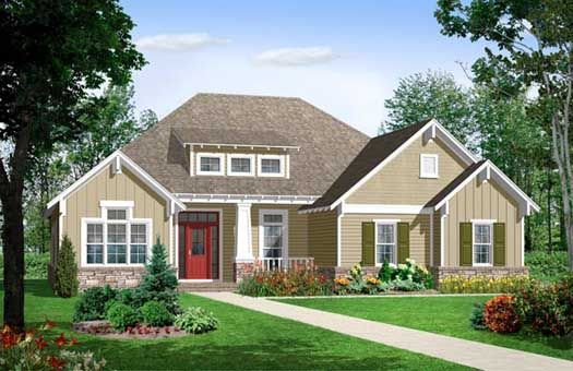 Bungalow Style House Plans - 1655 Square Foot Home , 1 Story, 3 Bedroom and 2 Bath, 2 Garage Stalls by Monster House Plans - Plan 2-157
