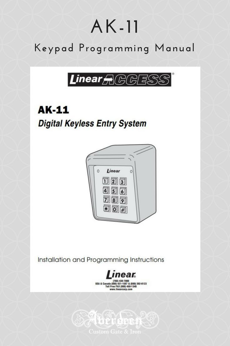 Linear Ak 11 Keypad Manual For Programming Instructions To Change