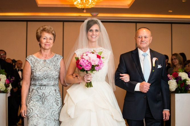 Bride Walking Down The Aisle With Mother And Father Found On Modern Jewish Wedding Blog
