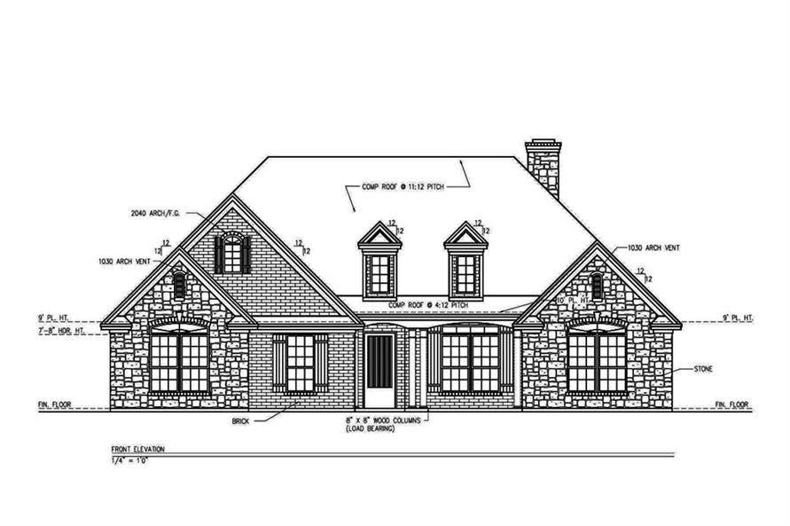 199 1003 Home Plan Front Elevation Floor Plans Garage Floor Plans Open Floor House Plans