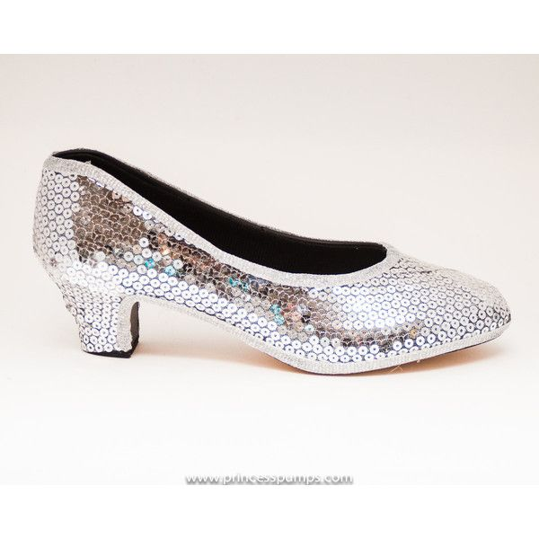 b2d8c1369de Cinderella Sparkly Sterling Silver Sequin Kitten Heel Pumps Shoes ( 110) ❤  liked on Polyvore featuring shoes