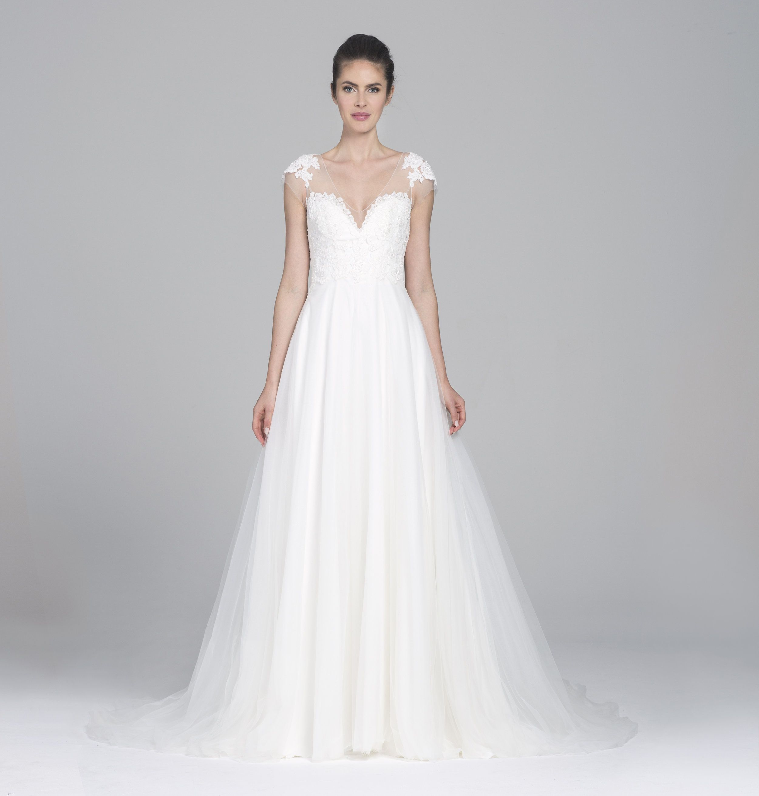 Wedding dress with bow on back  Soft tulle Aline gown with beaded illusion cap sleeve and low