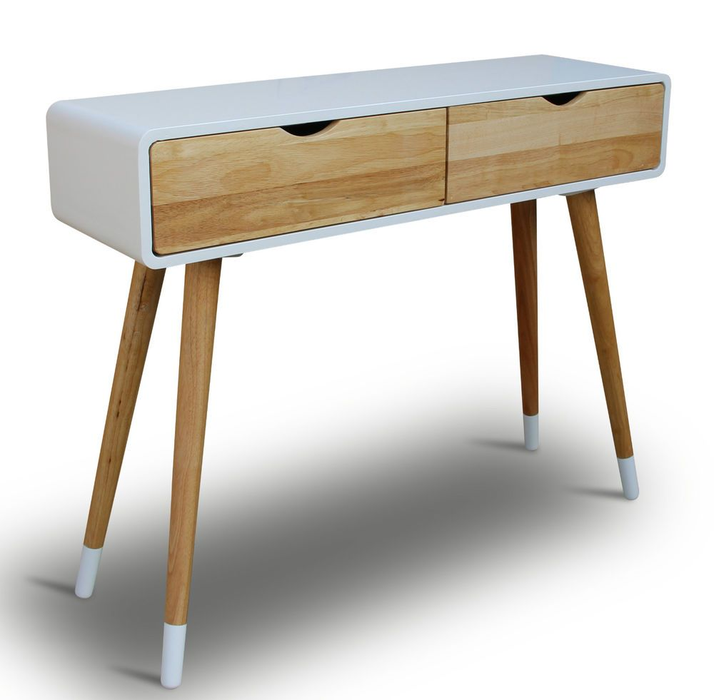 Console Dressing Table White 2 Drawers Vintage Retro Chic