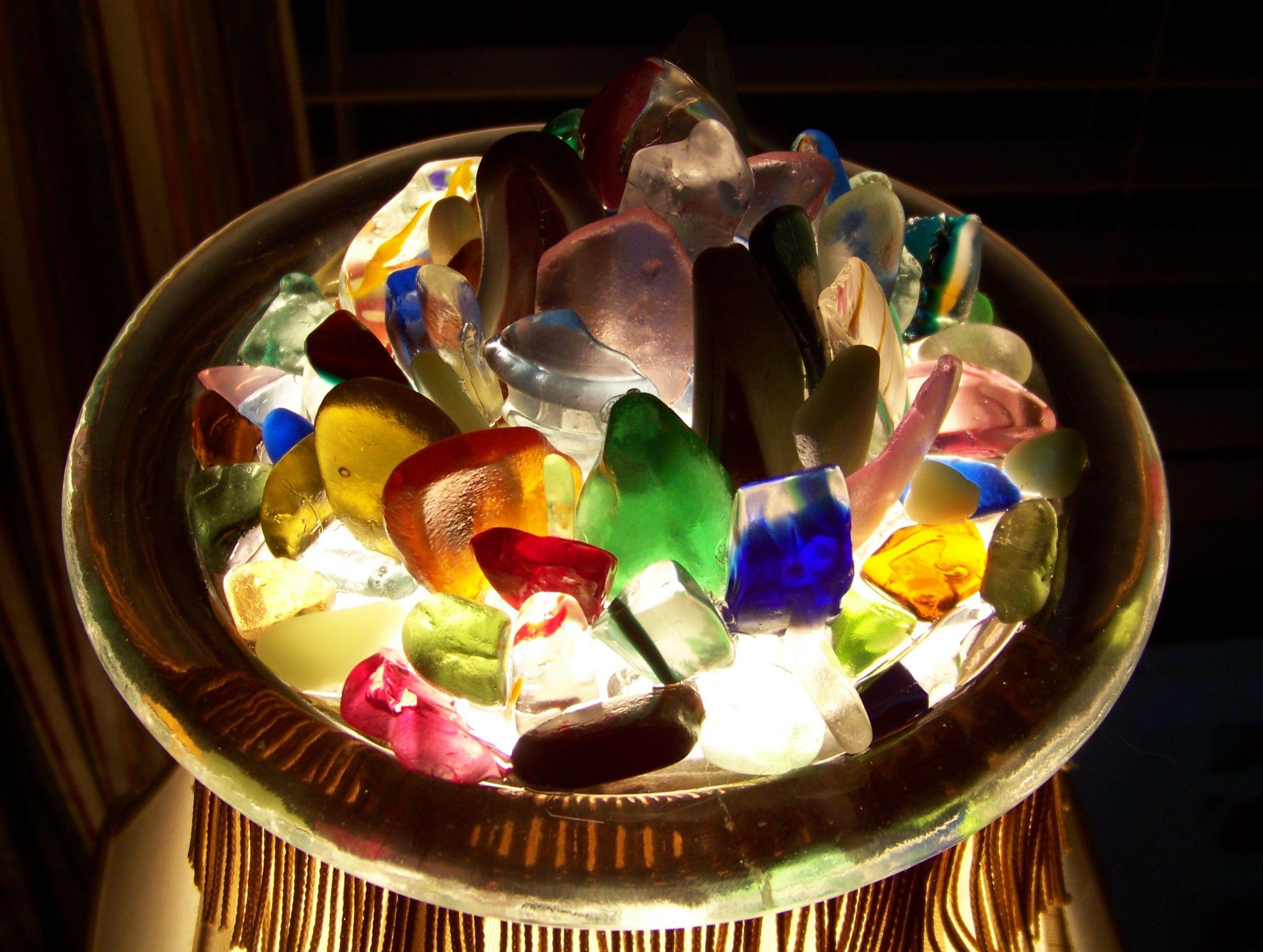 Sea glass on glass round.