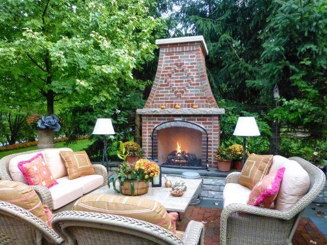 gartenkamin ziegel ideen terrasse herbst kühle abende | Garten ...