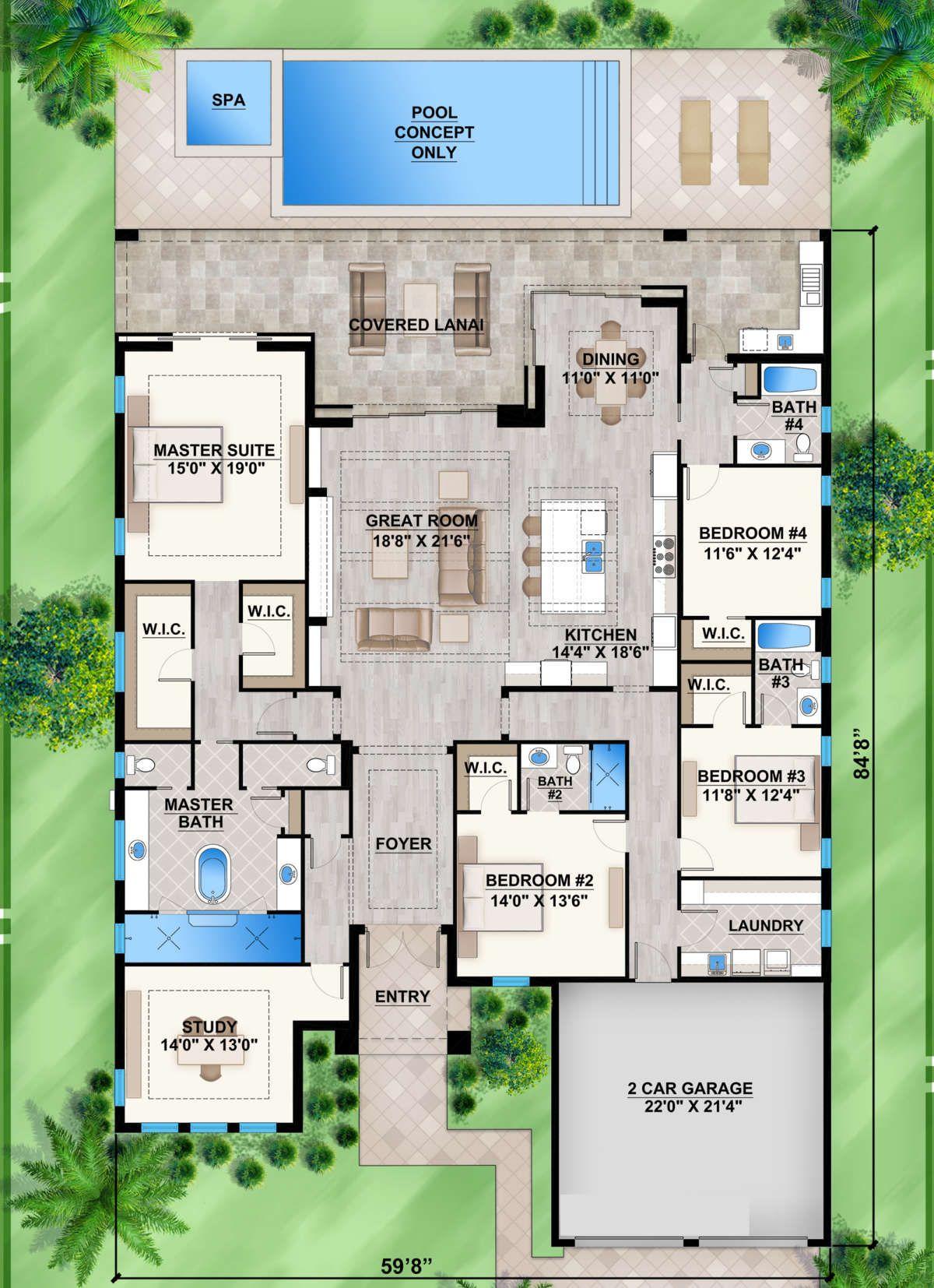 House Plan 207 00073 Coastal Plan 3 289 Square Feet 4 Bedrooms 4 Bathrooms In 2021 Coastal House Plans Pool House Plans 4 Bedroom House Designs