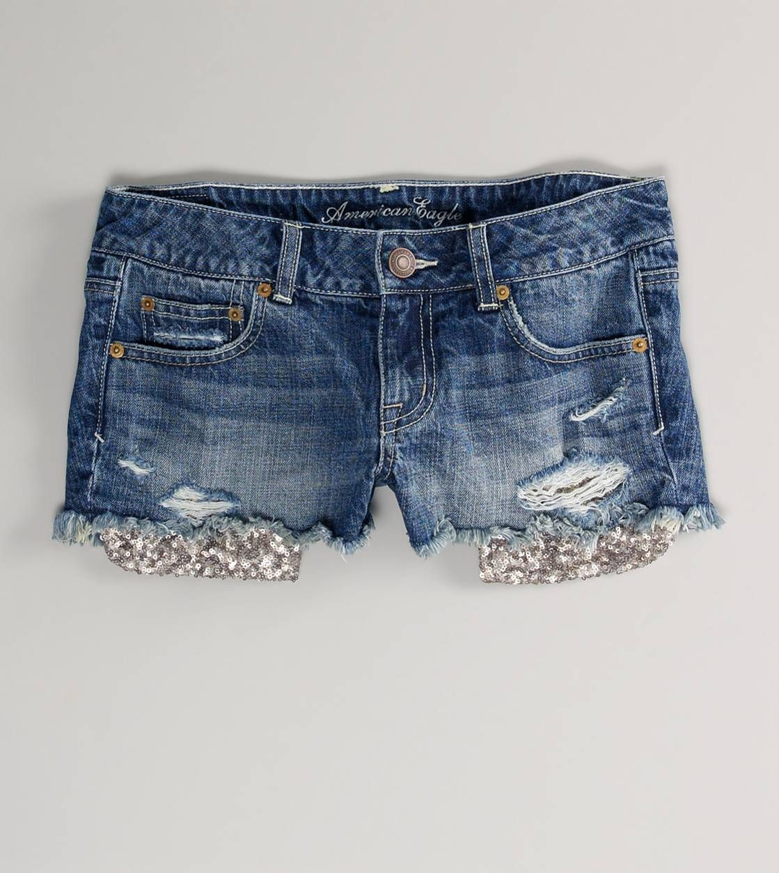 AE Sequin Pocket Denim Shortie