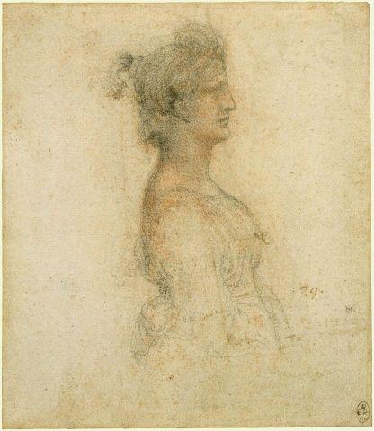 Leonardo da Vinci (Vinci 1452-Amboise 1519)  The bust of a masquerader in profile  c.1517-18 Black chalk rubbed with red chalk | 17.0 x 14.6 cm (sheet of paper)