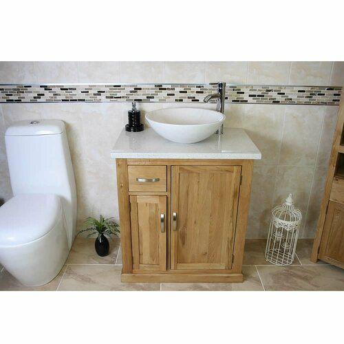 Belfry Bathroom Delay Solid Oak 750mm Free Standing Vanity Unit