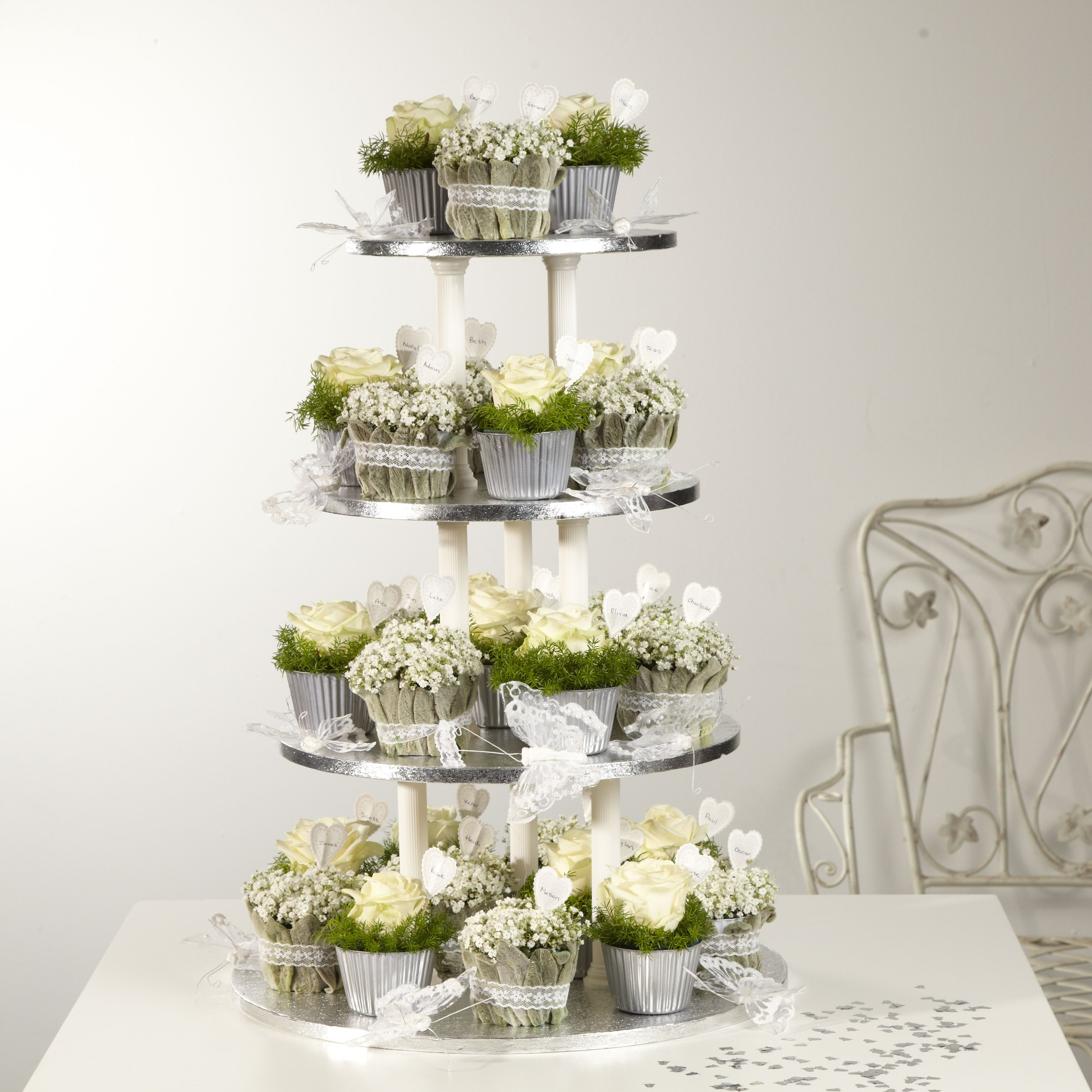 Use OASIS® Floral Cupcakes To Create This White And Silver