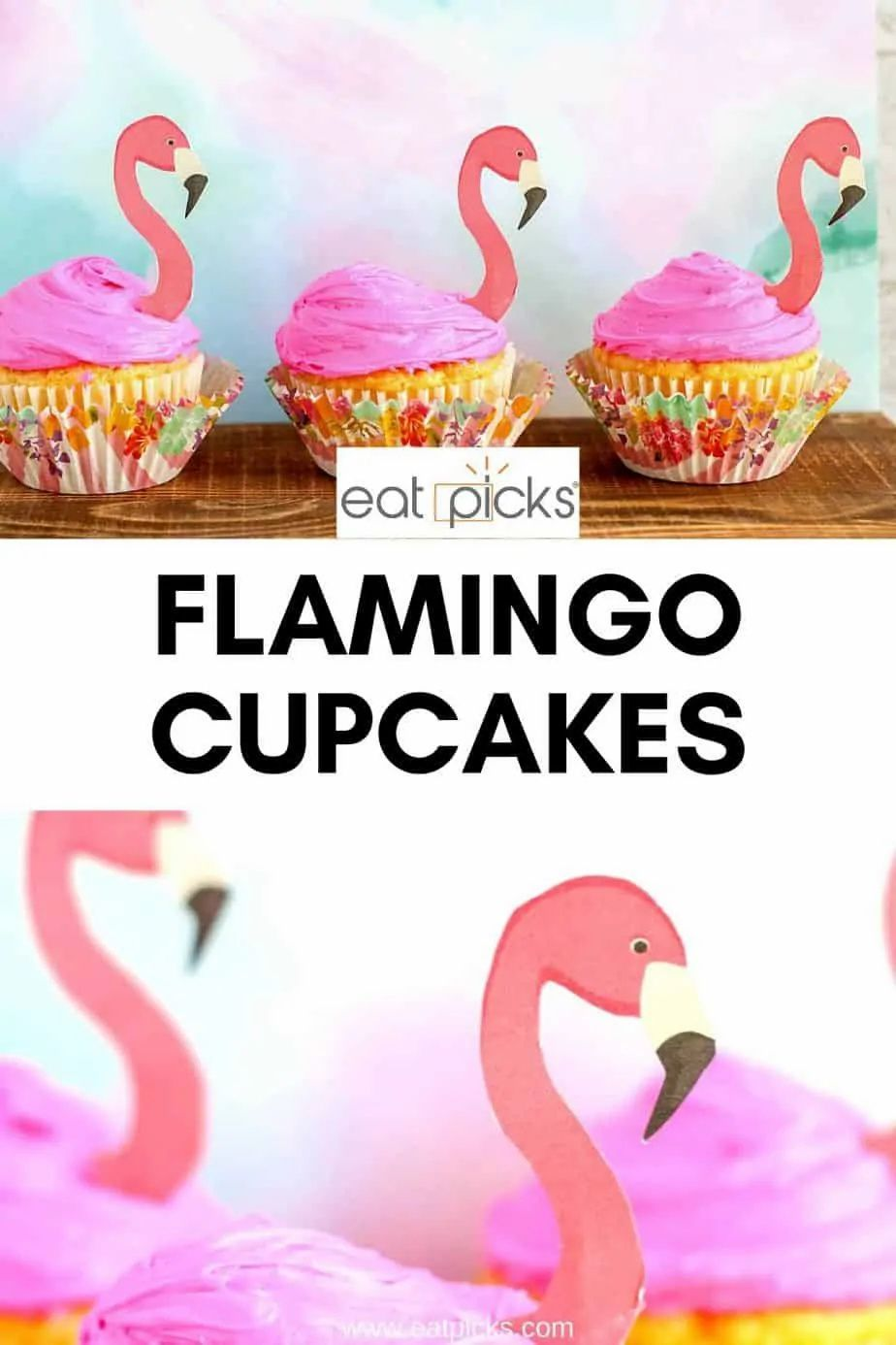 Flamingo cupcakes are a perfect dessert to serve for a summer birthday or pool party! Pink flamingo cupcake toppers make these a fun treat to enjoy! #flamingocupcakes #flamingo #themecakes #cupcakes #dessert #summerrecipes #partyfood #Themecupcakes #flamingoparty #poolpartyfood #easyrecipe
