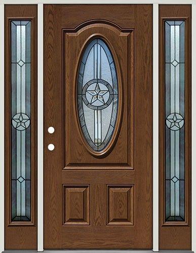 Pre Finished Oak Fiberglass Door With Sidelites Star Oval 60 Front Entry Door From Door Clearance Fiberglass Front Entry Doors Prehung Doors Fiberglass Door