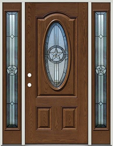 Pre Finished Oak Fiberglass Door With Sidelites Star Oval 60