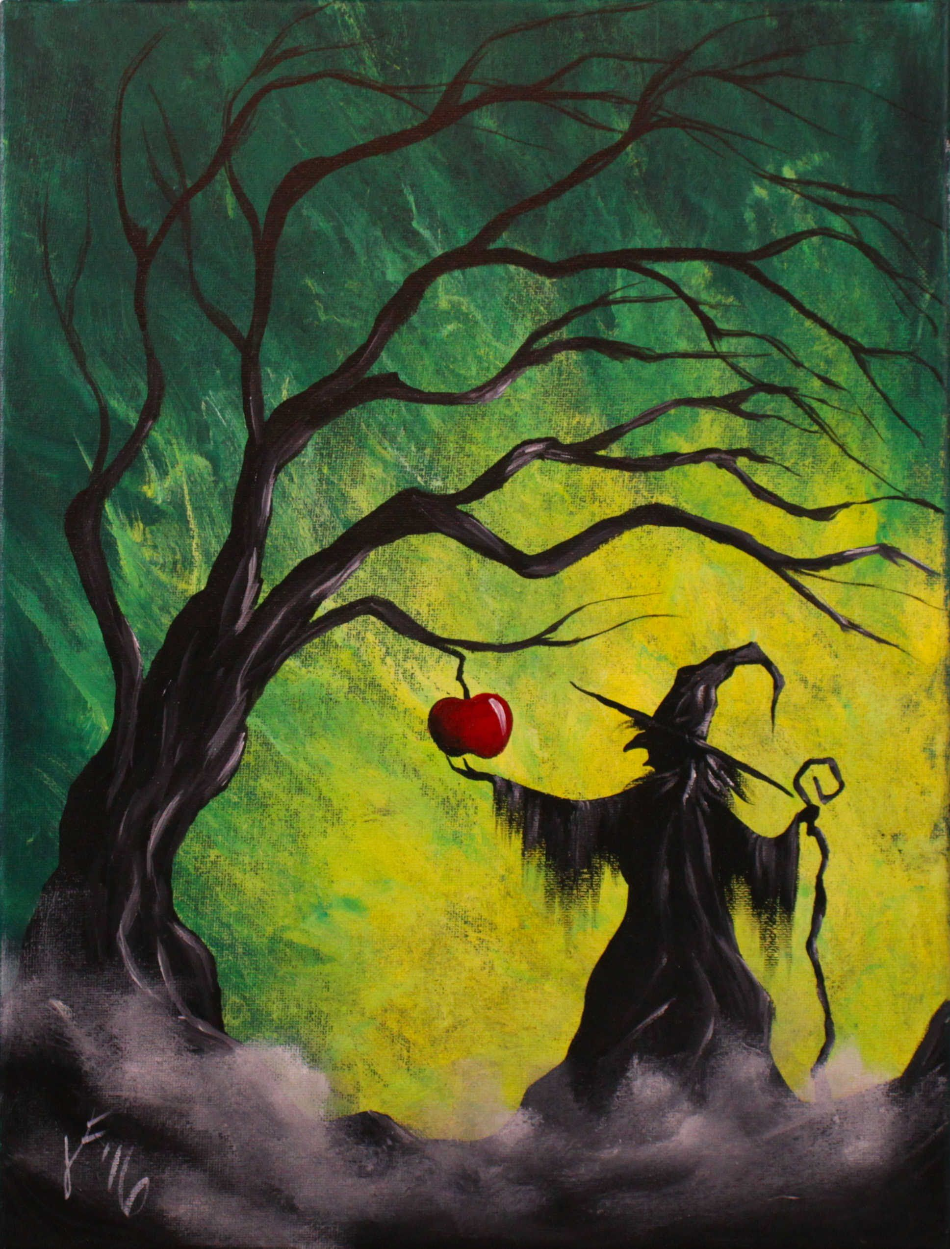 Enchanted apple step by step acrylic painting on canvas for Canvas painting tutorial for beginners