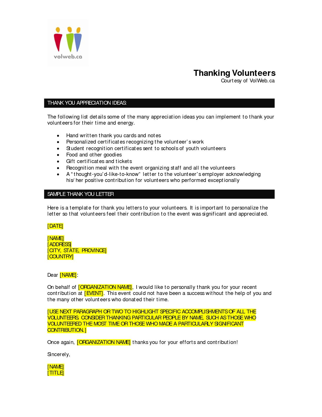 Volunteer Letter Of Appreciation Template Awesome