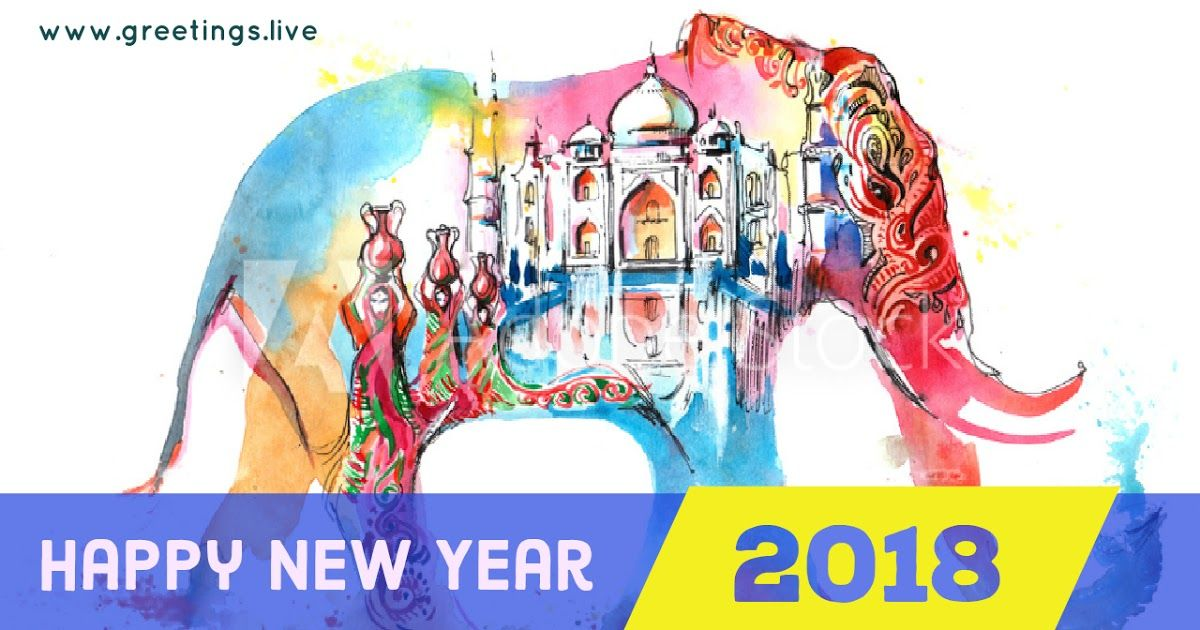 indian theme new year 2018 greeting elephant