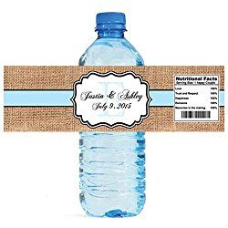 Gold Confetti on Blue /& White Stripes Water Bottle Labels Wedding Engagement