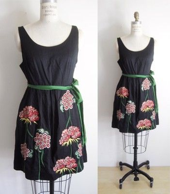 floreat anthropologie  black floral appliqué dress