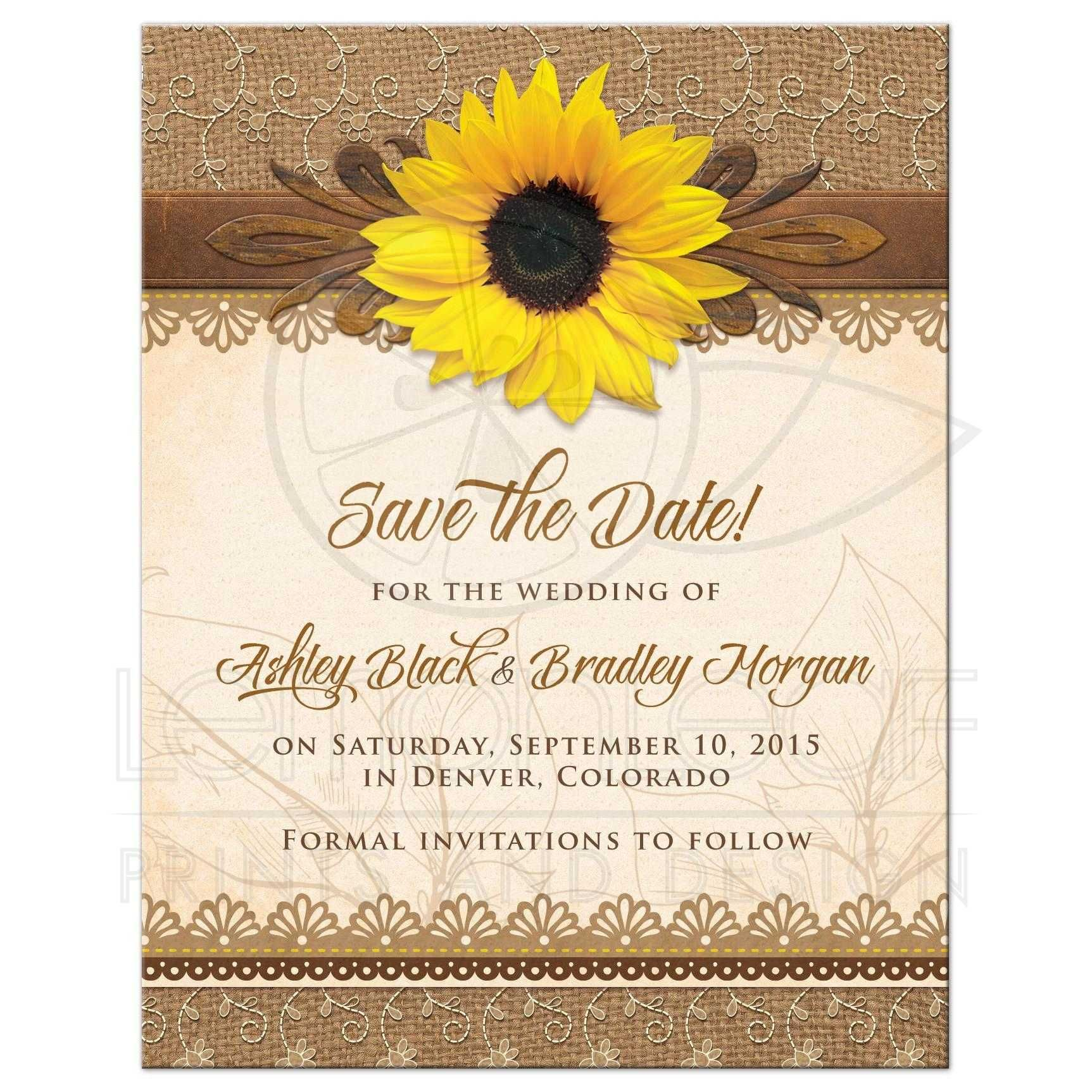 Save the Date Rustic Sunflower Burlap Lace Wood