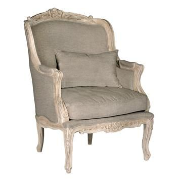 Fontaine Swedish Gustavian Shabby Chic French Bergere Chair Darker Beige Fabric 40H 28.5W 29D