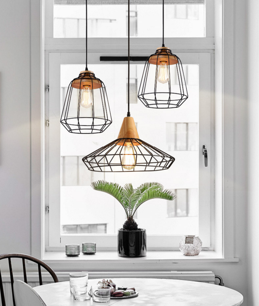Sangkar metal cage pendant light with wood base ceiling lights sangkar metal cage pendant light with wood base scandinavian styling ceiling light mozeypictures Image collections