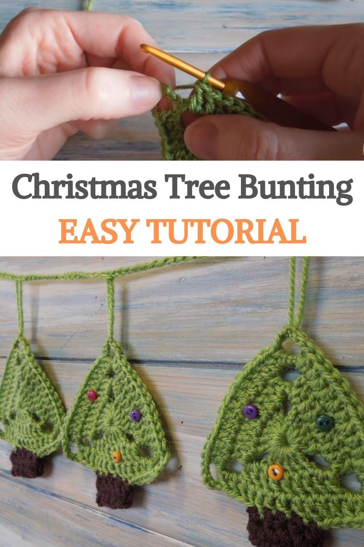 Christmas Tree Bunting Easy Tutorial In 2020 Christmas Crochet Patterns Crochet Videos Tutorials Christmas Crochet Patterns Free
