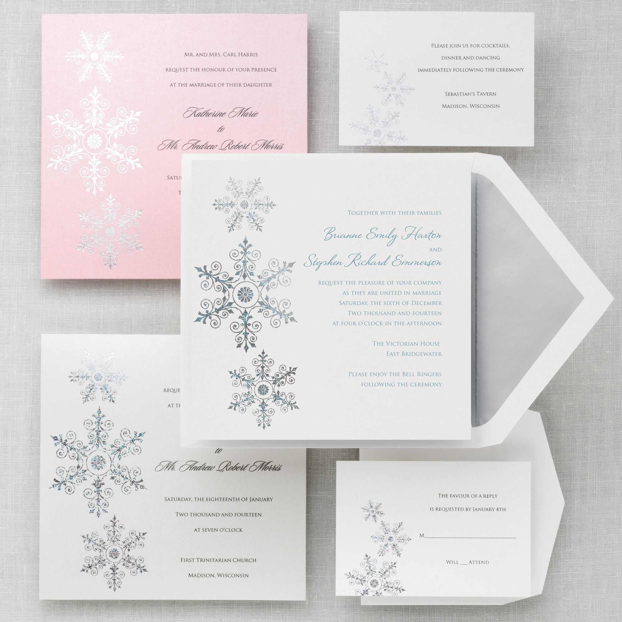 Sparkling Snowflake Wedding Invitation - Winter Wedding Invitations ...