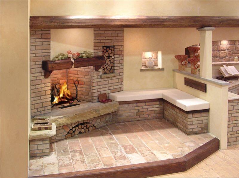 Camini In Mattoni Rossi : Caminetto con rivestimento in mattoncini refrattari fireplaces