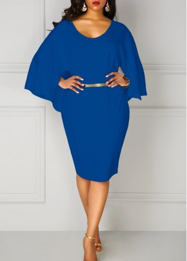 b78ddbbf008 Plus Royal Blue Long Sleeve Cutout Back Cloak Dress