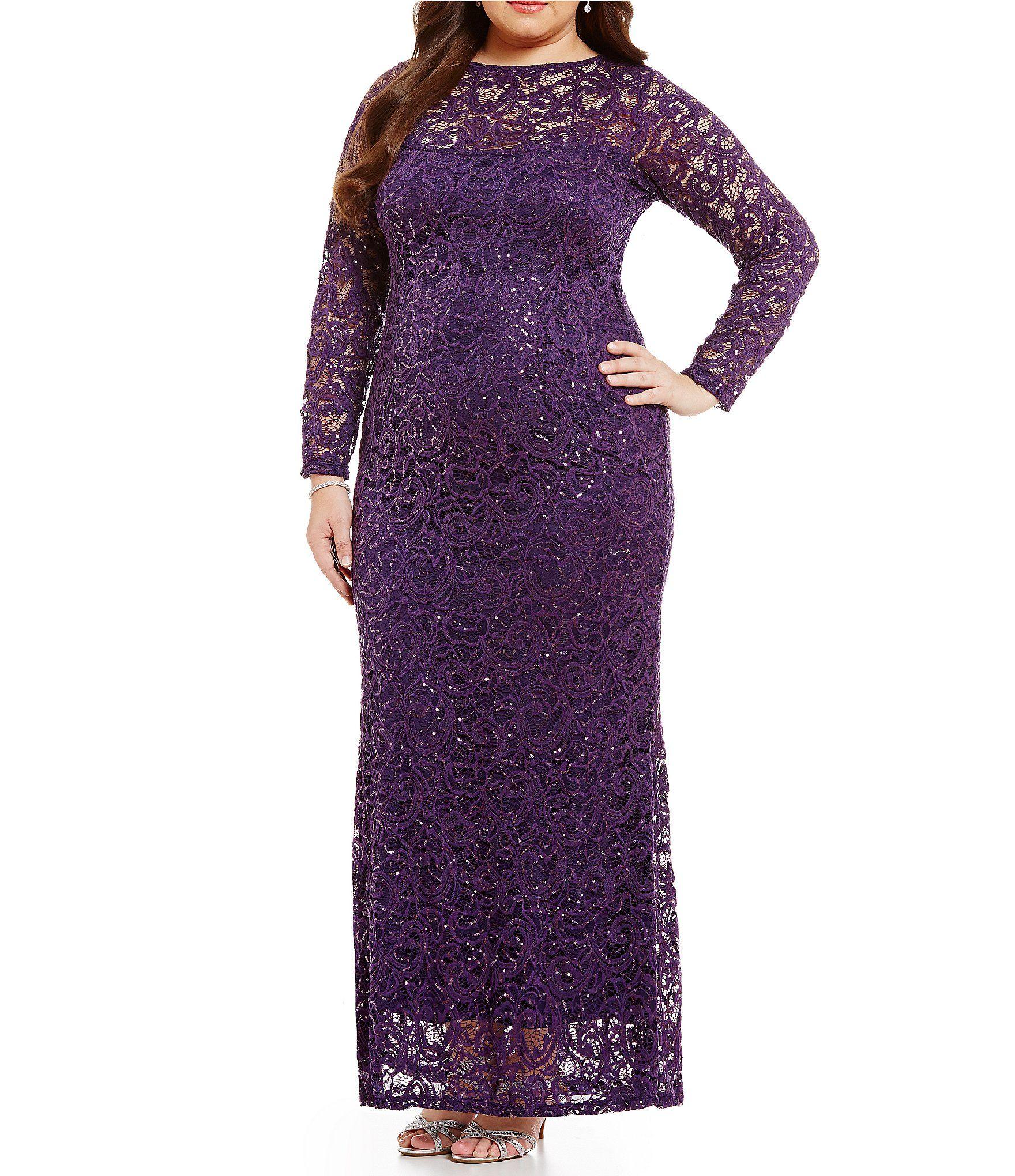 Marina Plus Illusion Sequin Lace Gown | Trajes boda, Traje y Boda