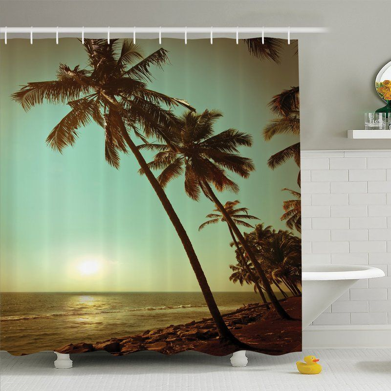 Palm Tree Sunset Tropical Beach Dusk On Pacific Ocean Vintage Exotic - Palm-tree-furniture-from-pacific-green