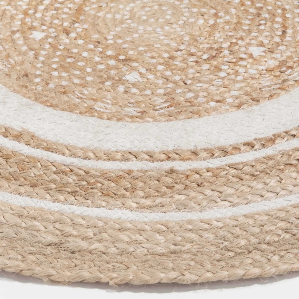 Round White Cotton And Jute Rug D 90 Cm Leigh Maisons Du Monde Jute Rug Braided Rag Rugs Jute Round Rug