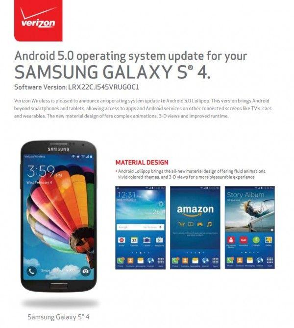 Verizon Samsung Galaxy S4 Receives Android 5.0 Lollipop