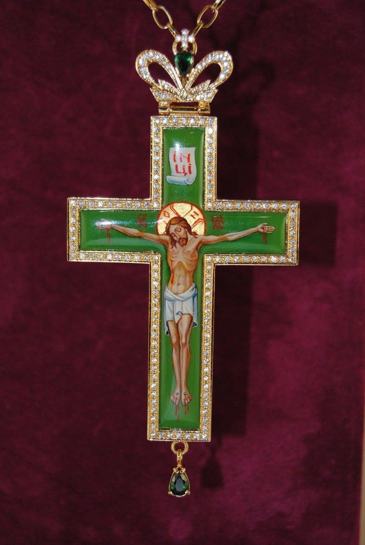 Orthodox Green Cross Gold Plated Engolpion Pendant Zircon Etsy In 2021 Christian Symbols Jesus On The Cross Cross Designs