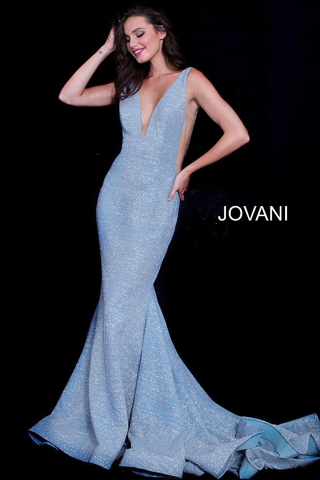e87c380cc jovani 47075 c Prom Dress With Train, Hair Trim, Plunging Neckline Dress,  Evening