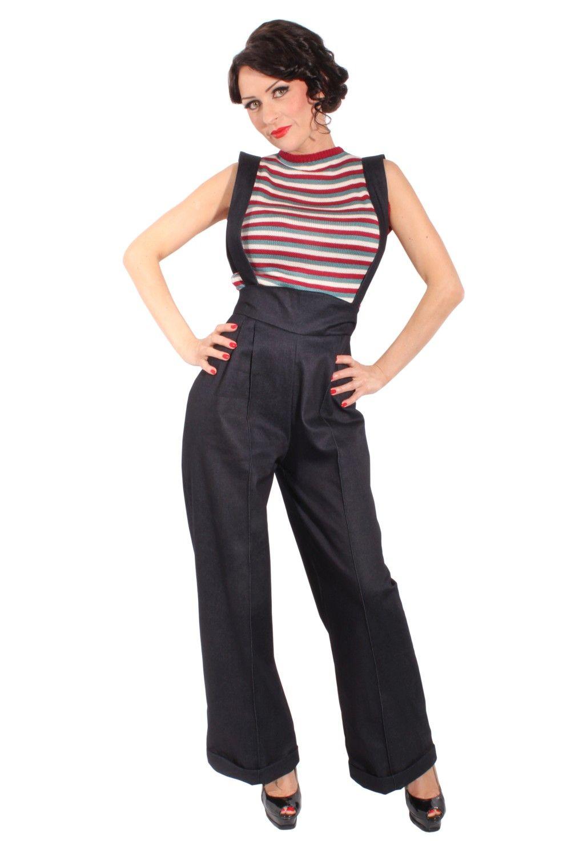 99fd0a419f8 Suspenders MARLENE Retro DENIM rockabilly jeans High Waist Pants ...