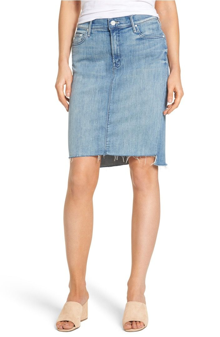aa1f9d22af This summer-ready, frayed, midi denim pencil skirt with peg step hem is  perfect for any day or night activity