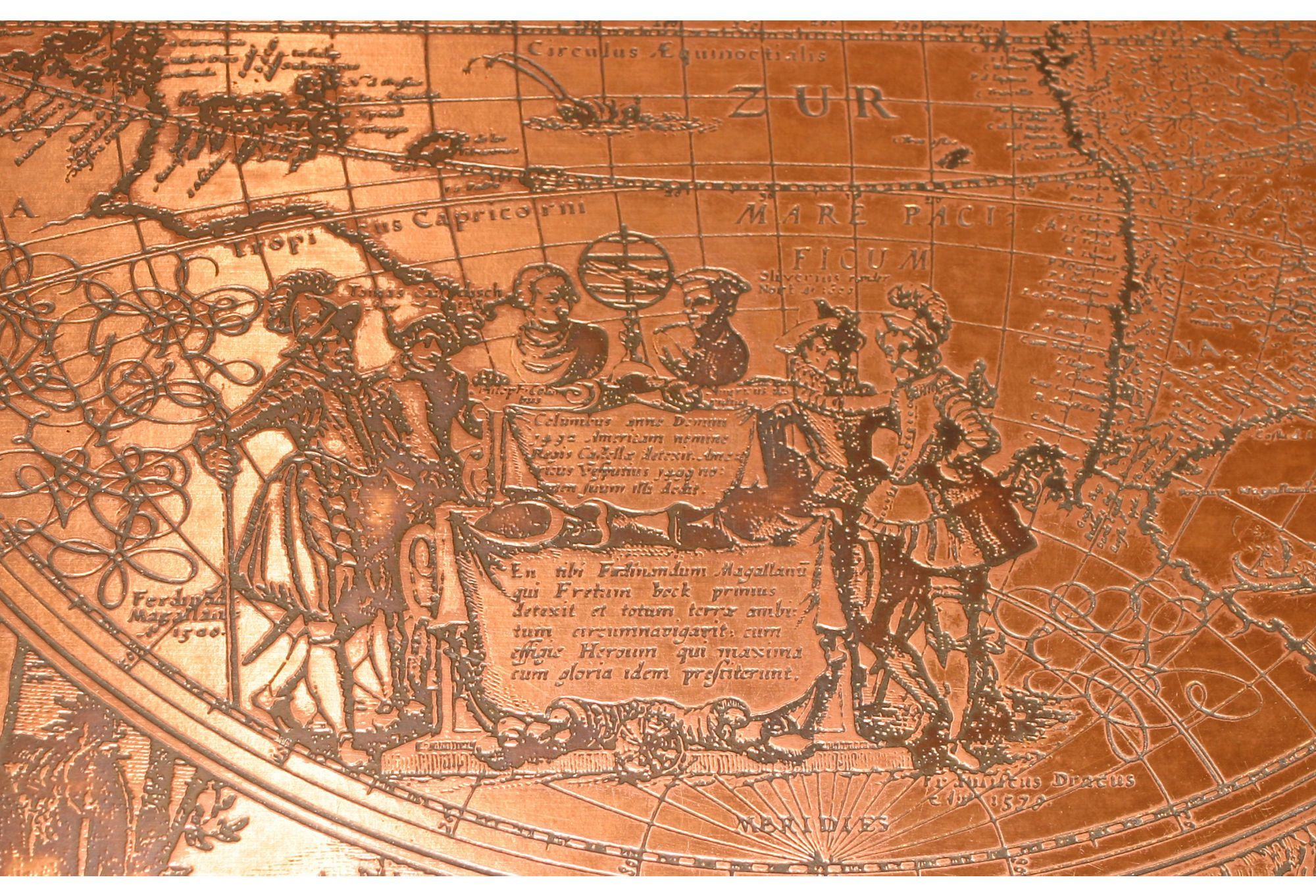Ornate coffee table with copper top consisting of a world map ornate coffee table with copper top consisting of a world map engraving plate geotapseo Gallery
